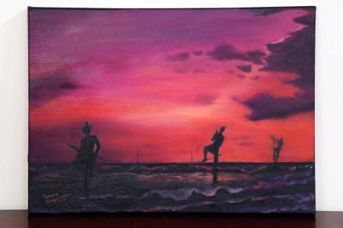 Stilt Fisherman at Sunset