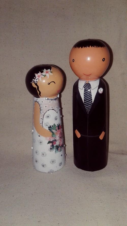Wooden dolls.Bride & Groom