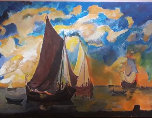Sun Set and Sail Boats