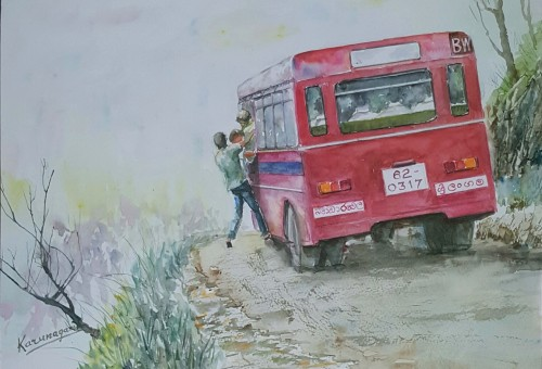 Bus at bend