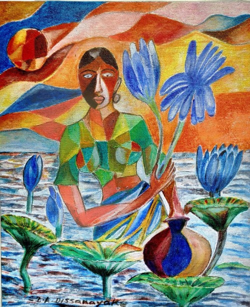 Woman with blue lotus