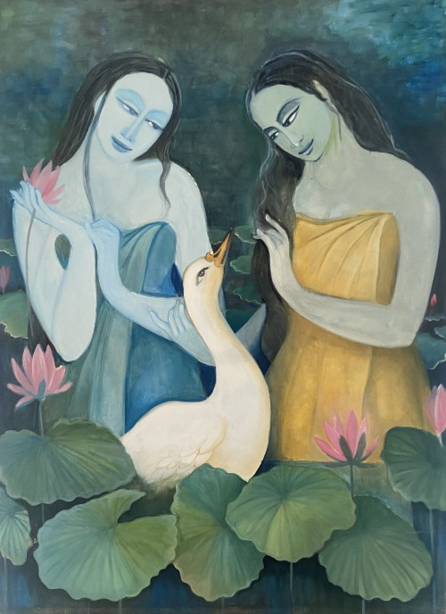 Girls and the swan