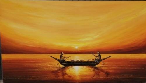 Scenario with sun set