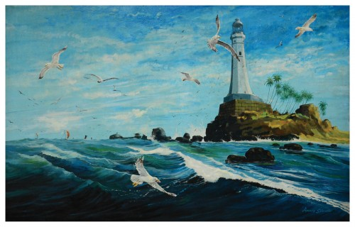 Light house and seagulls
