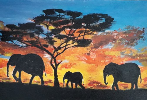 Papa  - Mumma - Baby Elephants