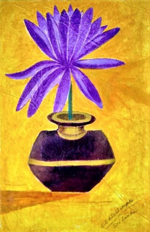 Blue lotus pottery