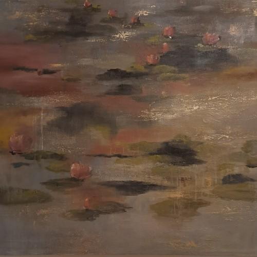 Water lilies in dusky waters 4