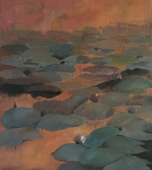 Water lilies in dusky waters