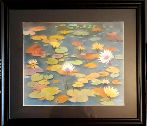 Lotus pond with glass