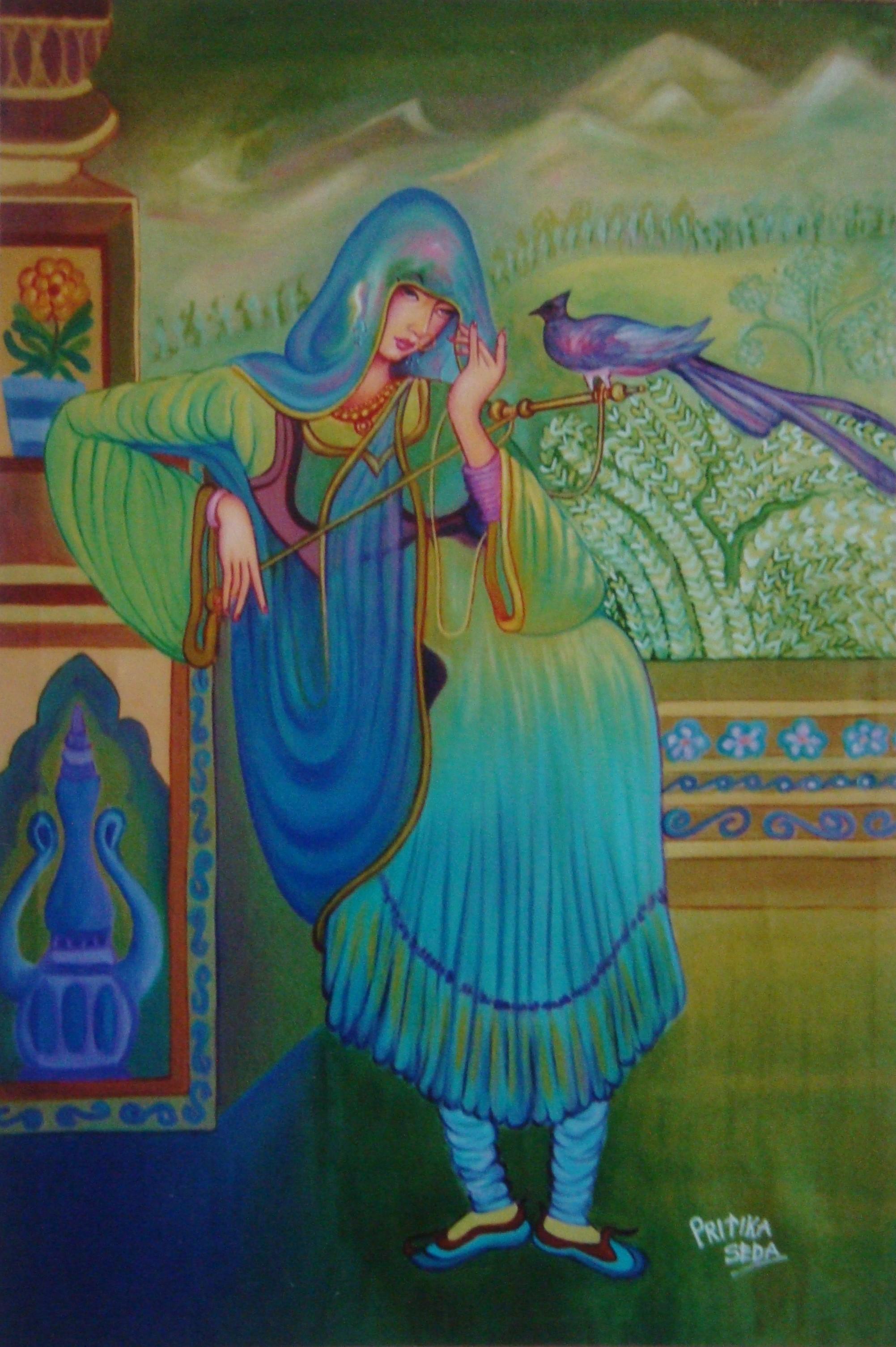BEAUTIFUL LADY WITH PEACOCK by PRITIKA SEDA