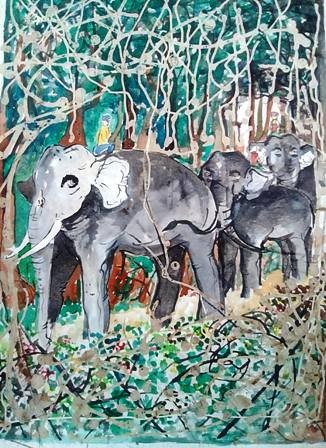 Elephant walk by Nihal Senarathna