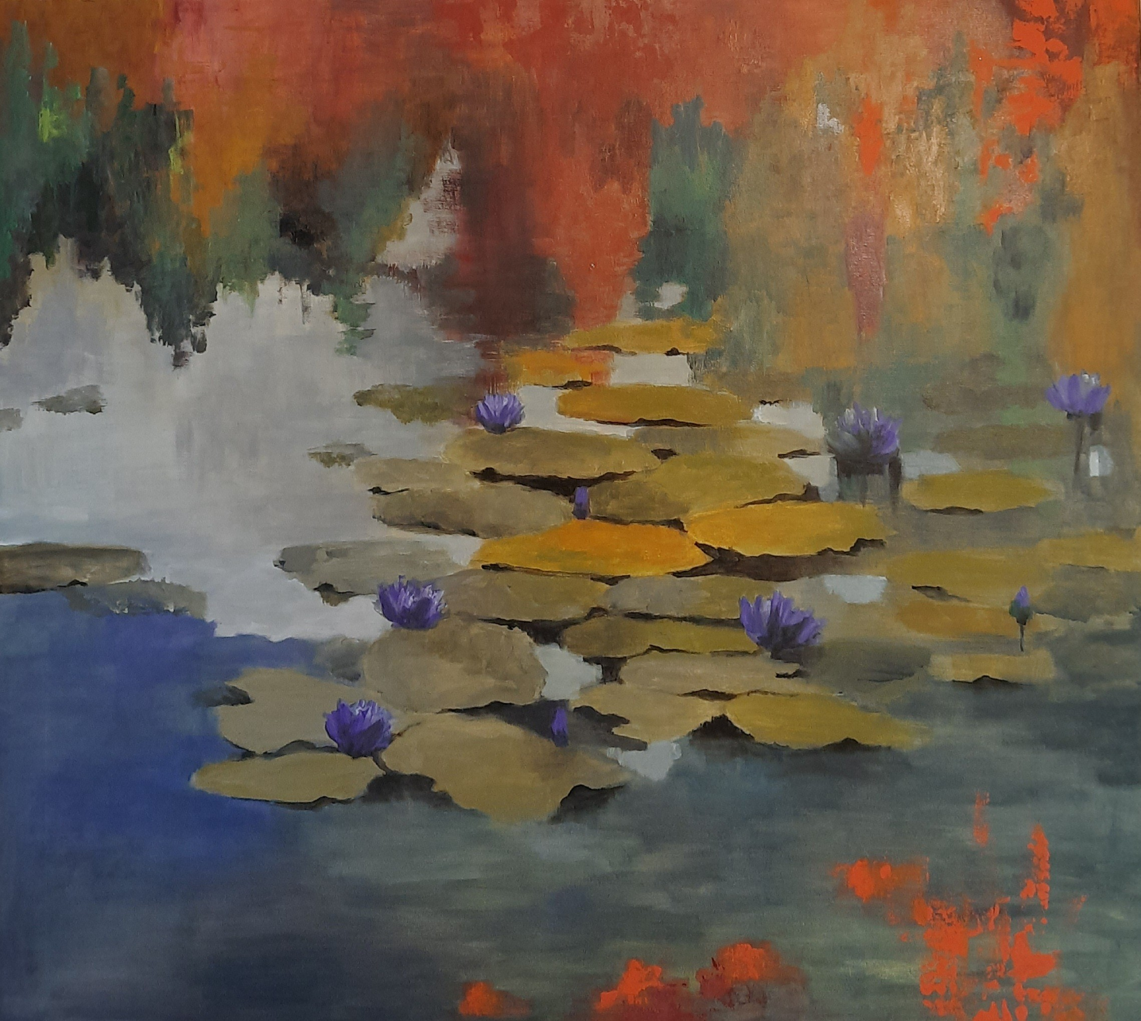 Water lilies in dusky waters 3 by Jean wijesekera