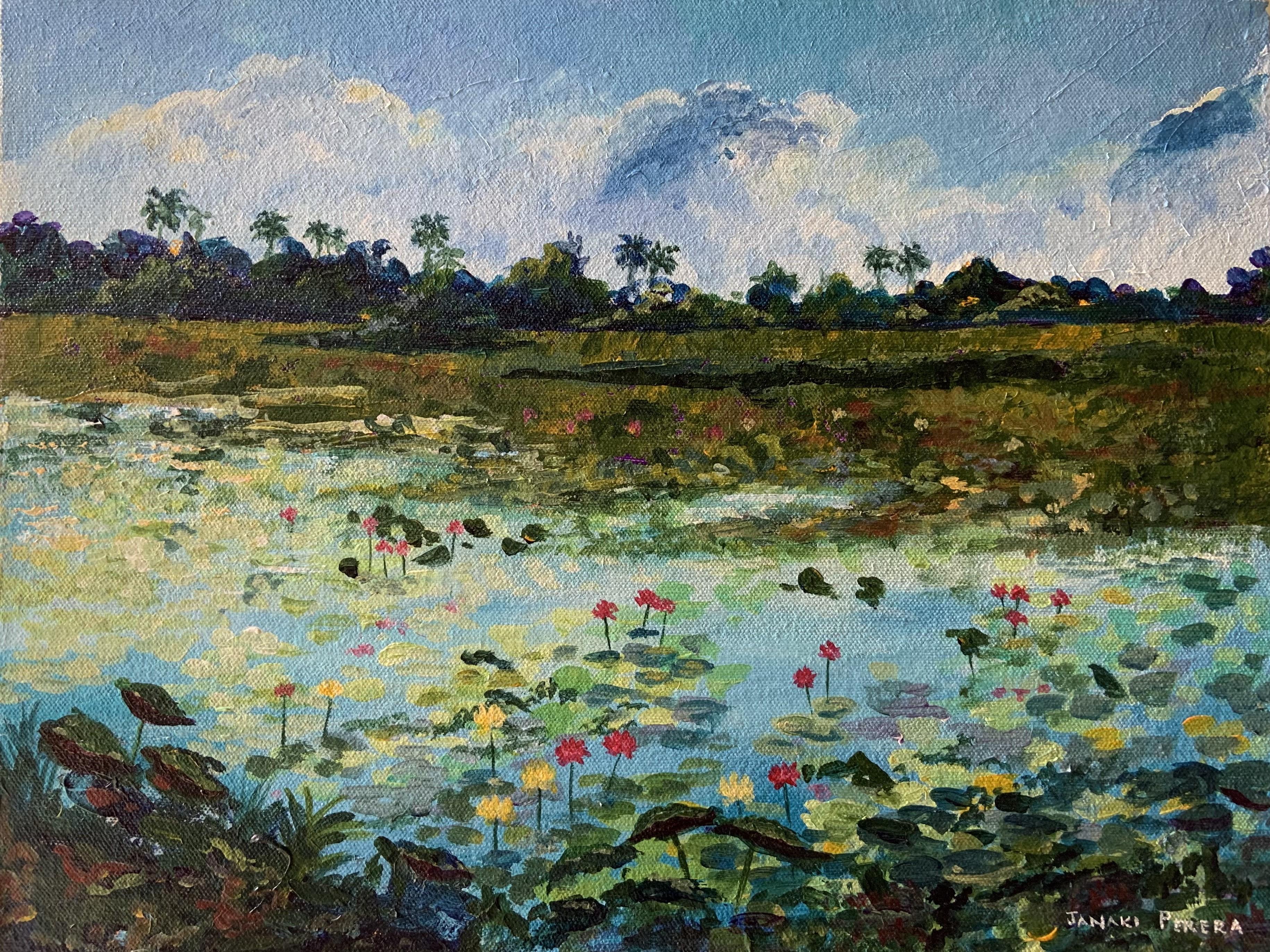 Mannar lake with lotuses by Janaki Perera