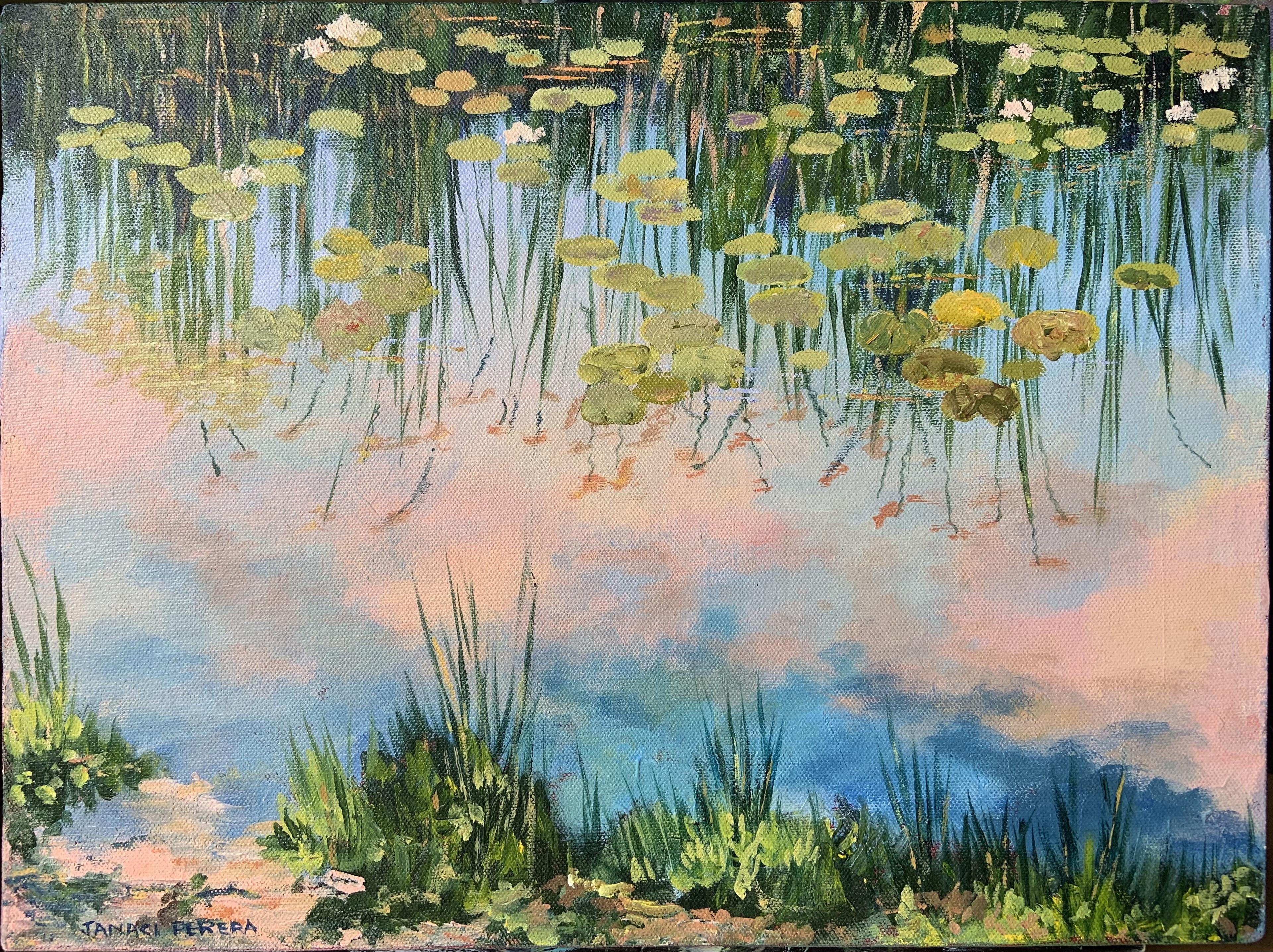 Reflection of lotuses by Janaki Perera