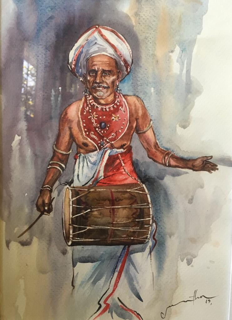 Traditional  Drummer by Jeewantha Samarakoon