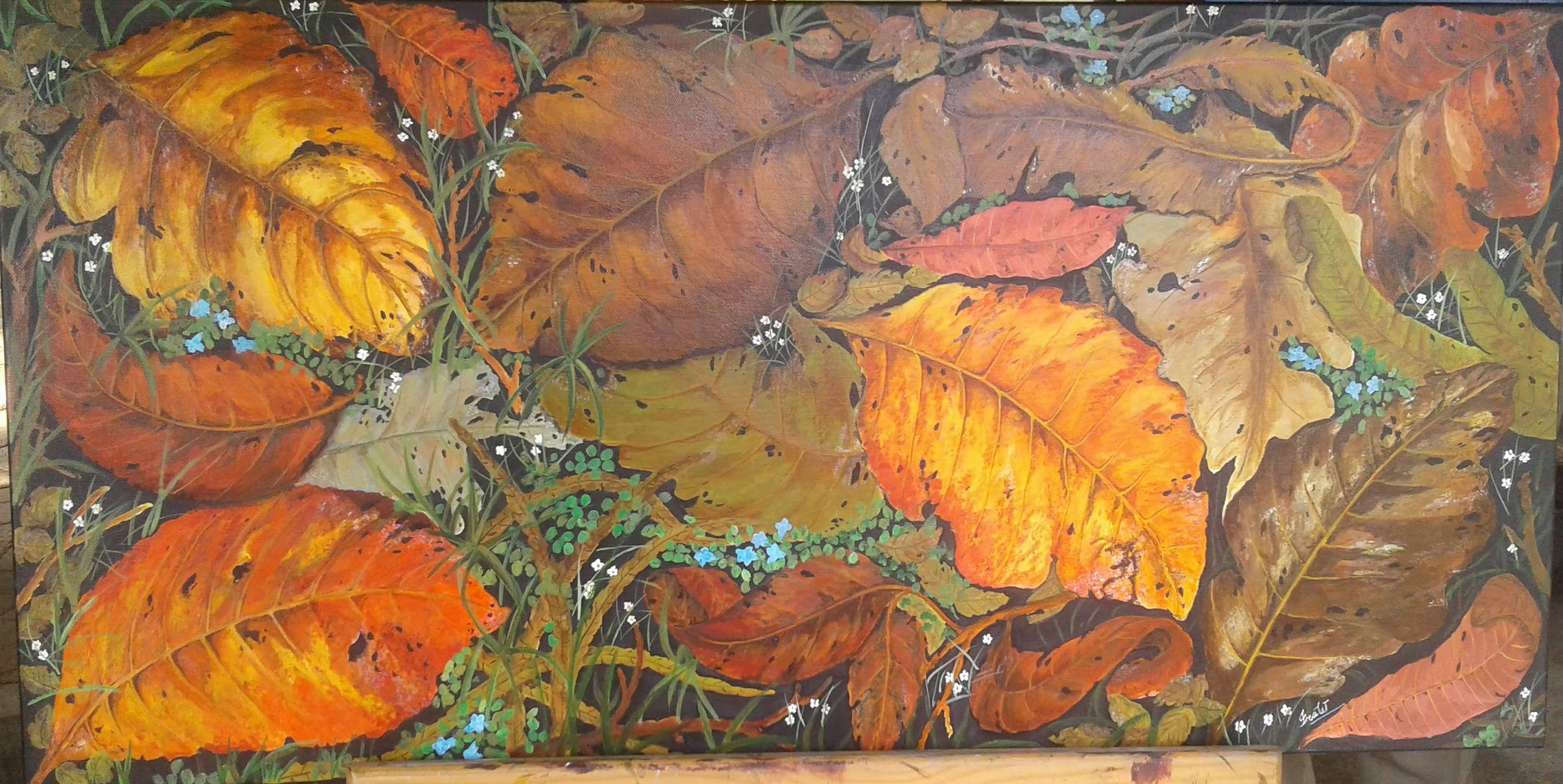 Leaves on Grass by Iranganie Wickramasinghe