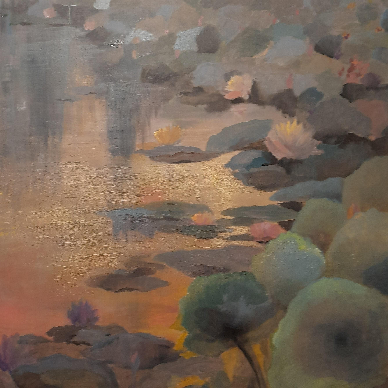 Water lilies in dusky waters 2 by Jean wijesekera
