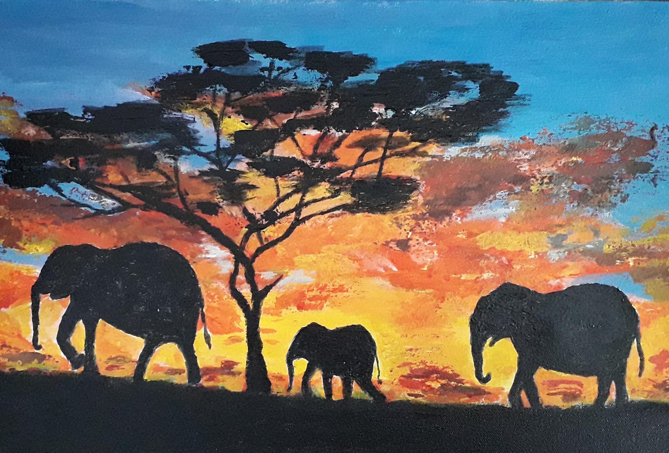 Papa  - Mumma - Baby Elephants by Simpson David