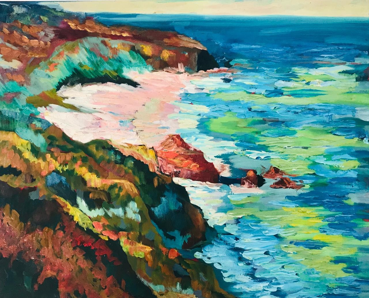The sea and the red cliffs by Thilini De Simon