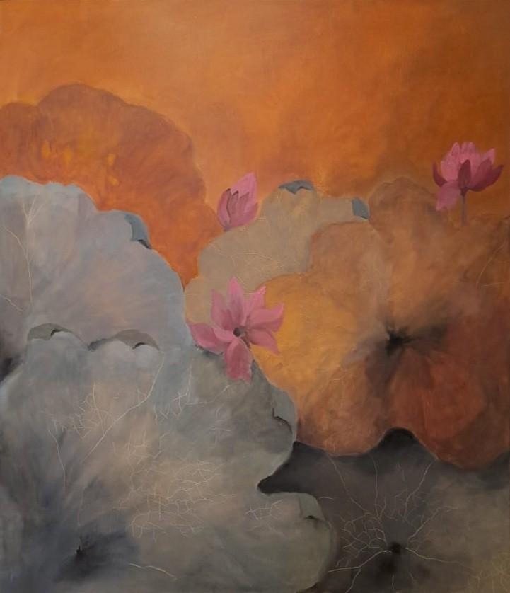 Pink lilies and dusky skies by Jean wijesekera
