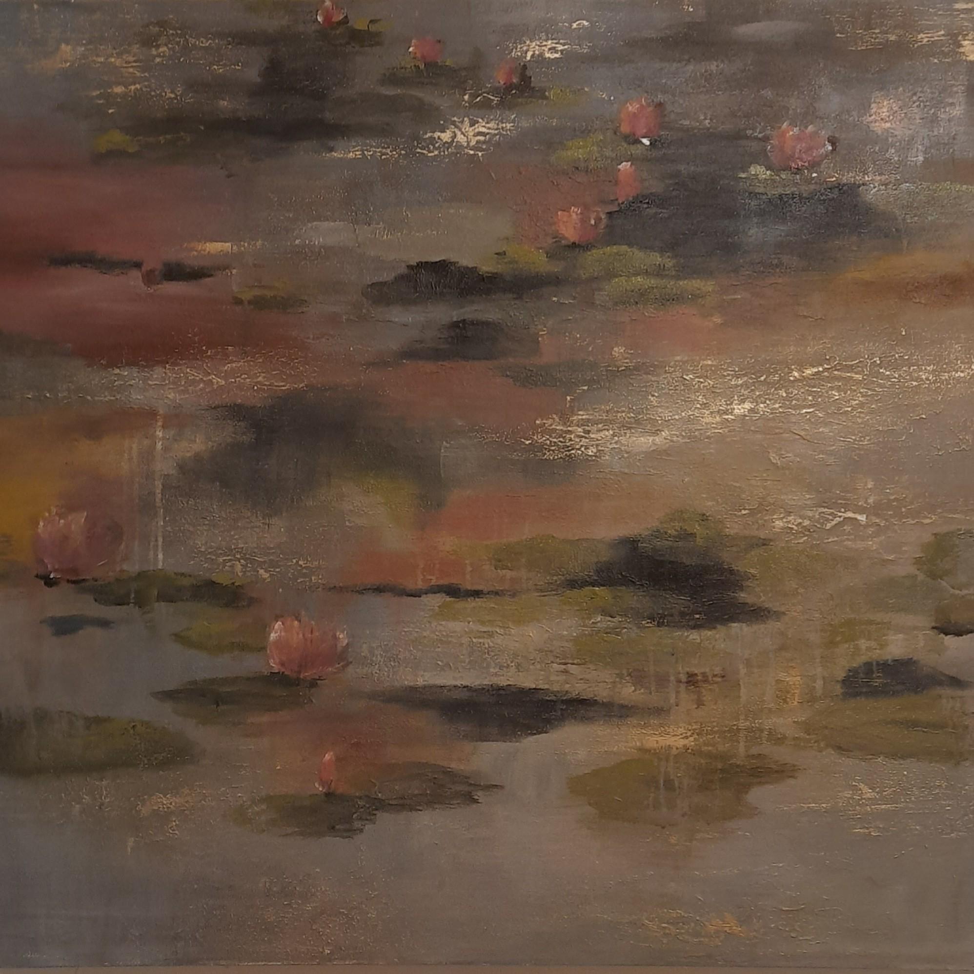 Water lilies in dusky waters 4 by Jean wijesekera