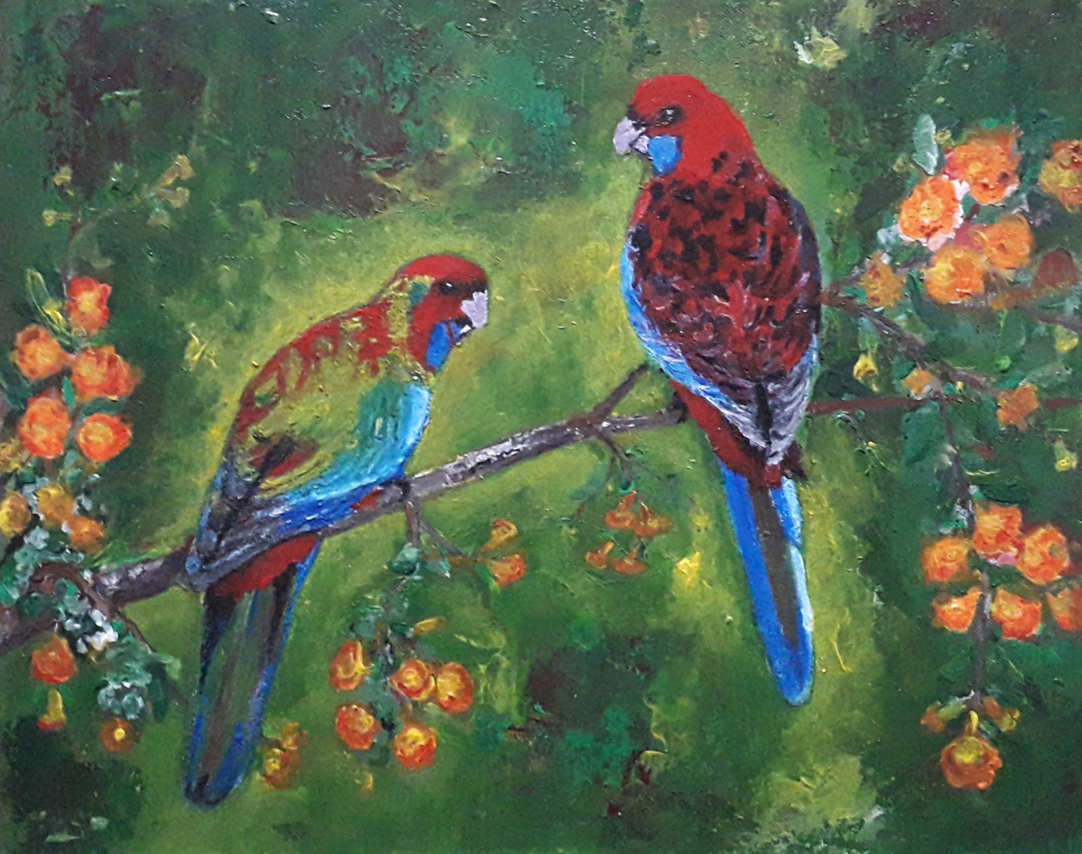 Pair of  Crimson Rosella by Simpson David