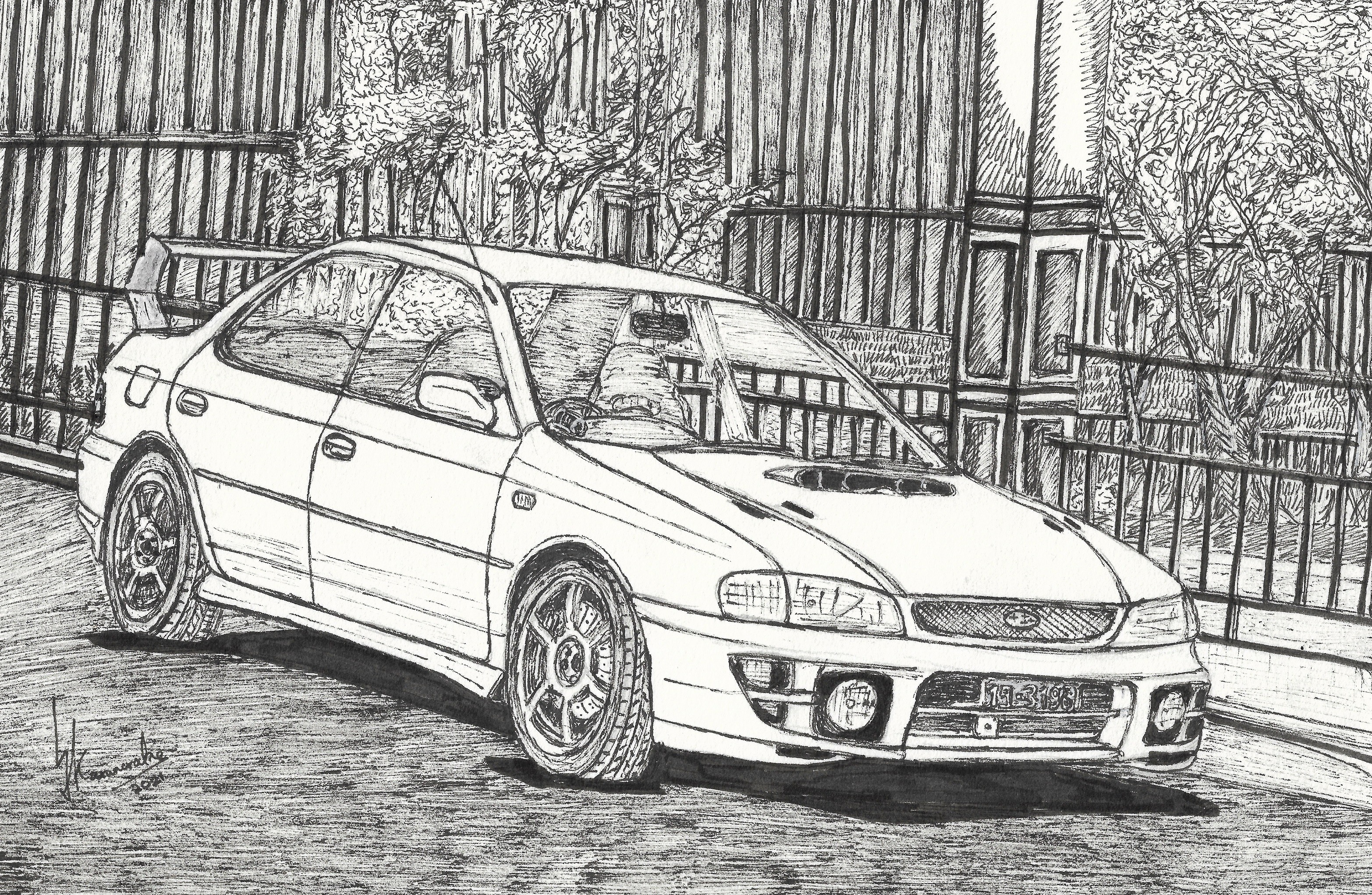 Subaru Impreza Park Days by Car Artist Lahiru