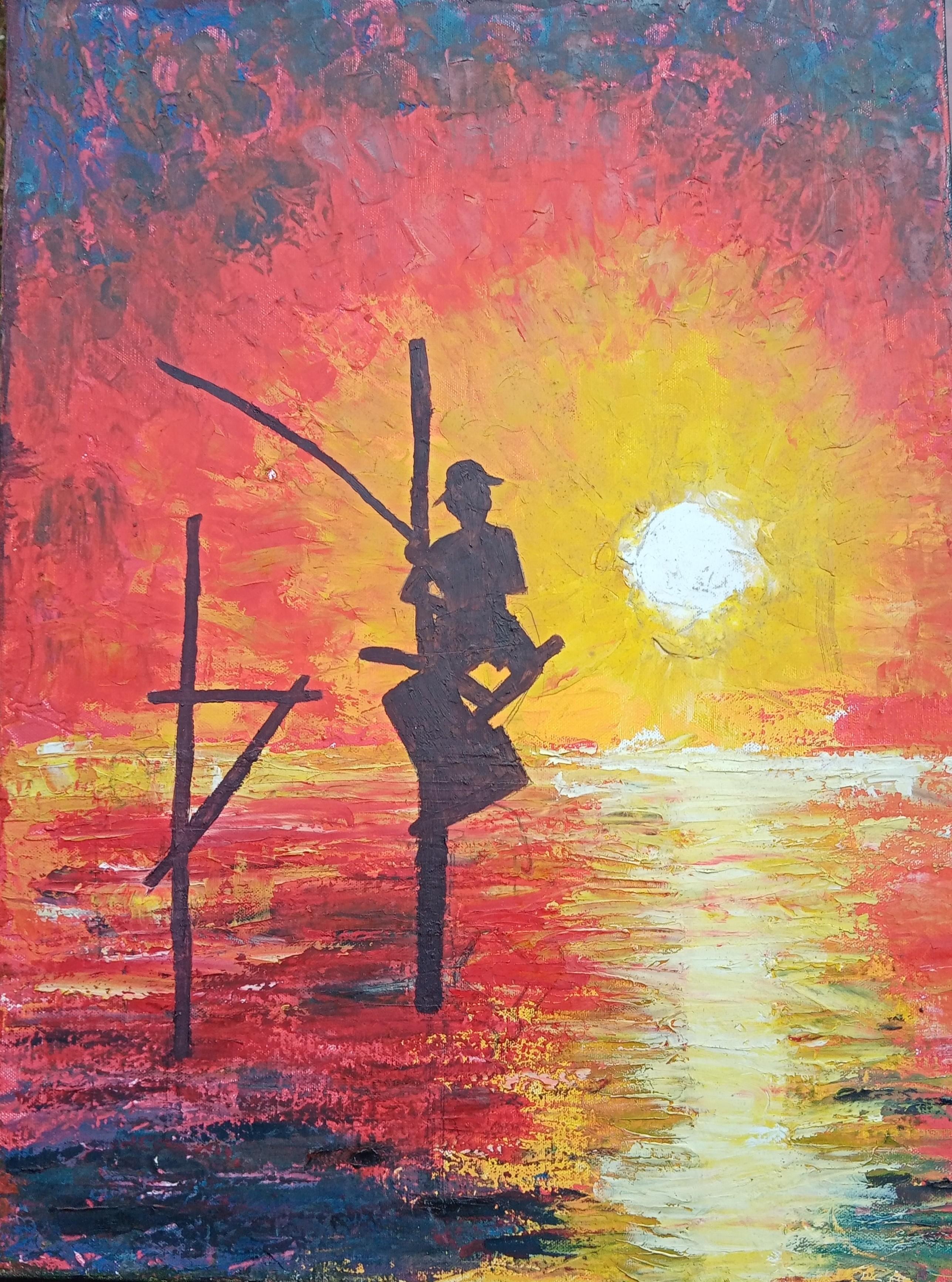 Fisherman at dusk by Arthana Pushpalingam