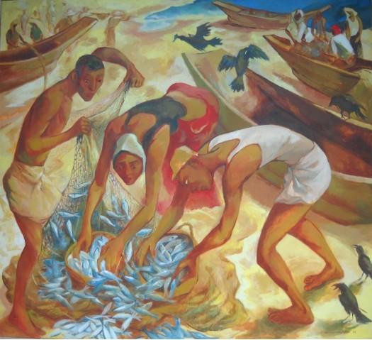 fishermen by Anura Dahanayaka