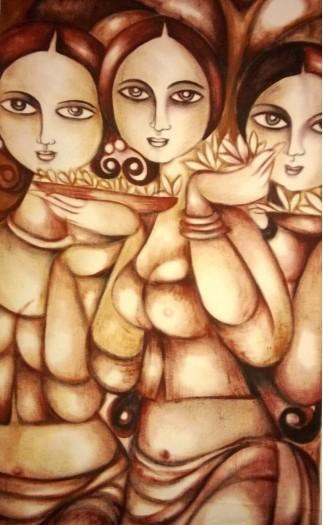 flower with girls by Vishaka Kahawita