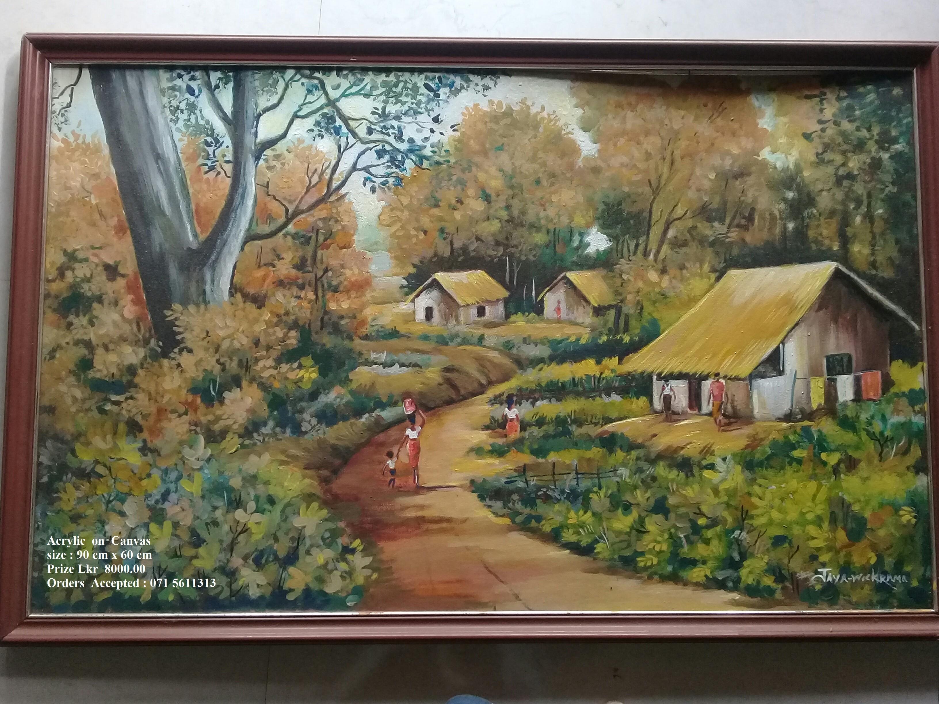 Gami Sundarathwaya 2 - Landscape by Wickramasinghe Arachchige Jayarathna