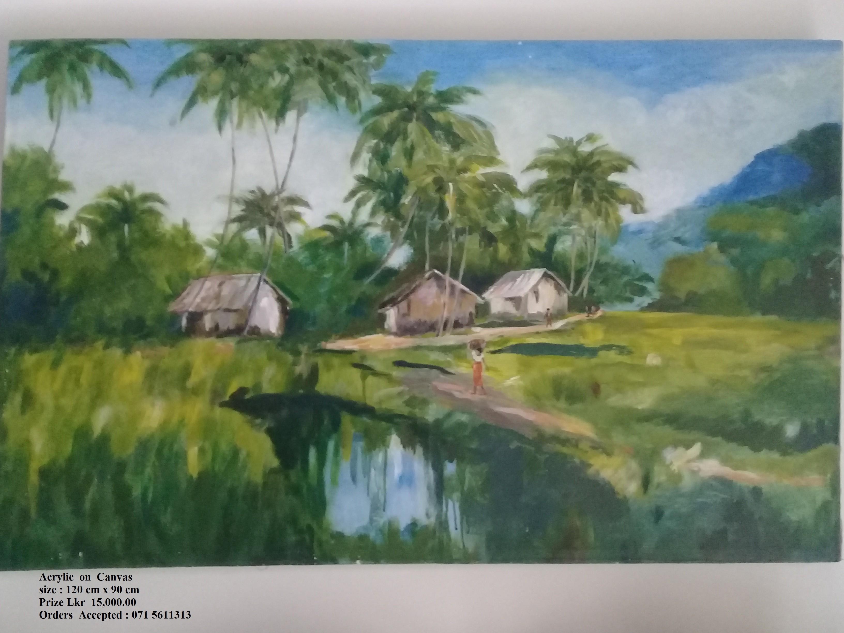 Gami Sundarathwaya - Landscape by Wickramasinghe Arachchige Jayarathna