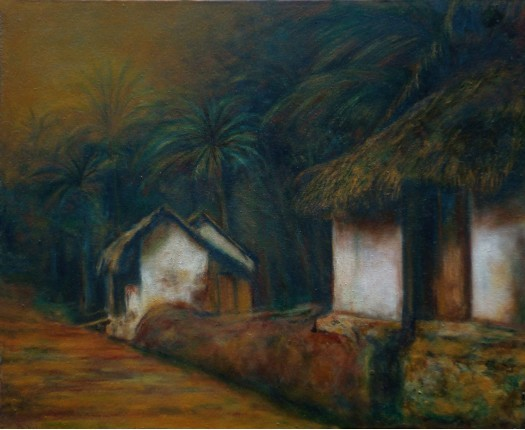 Village Scene by RAVINDRANATH JAYASEKERA